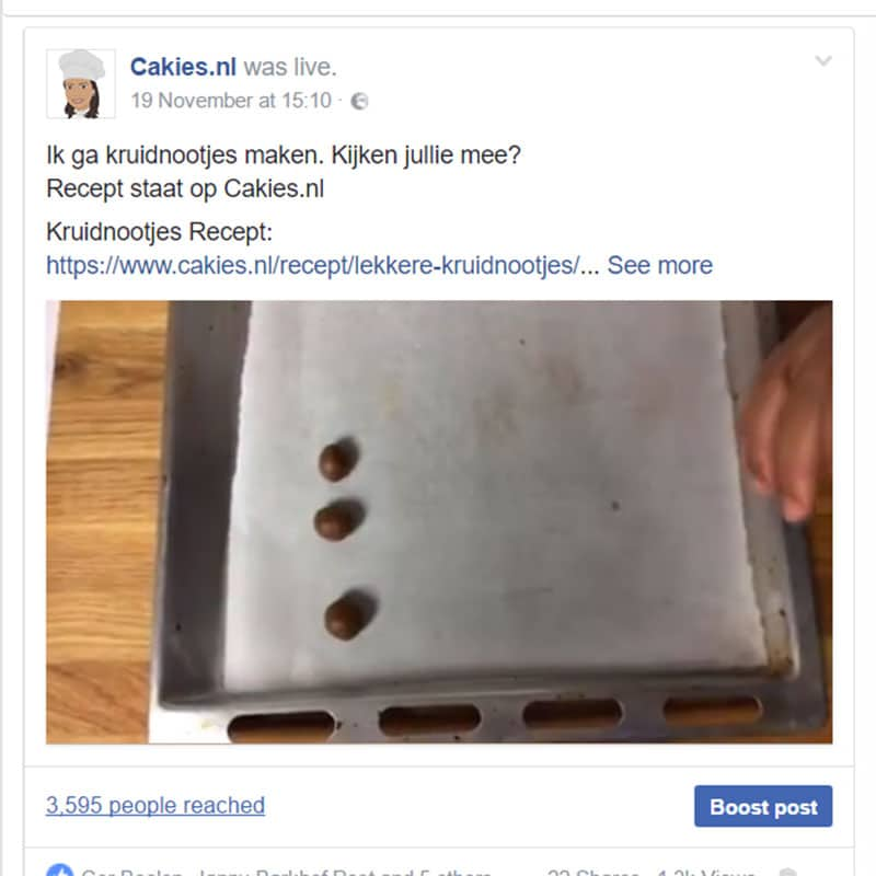 Kruidnootjes maken op Facebook Live - Eerste keer Facebook Live