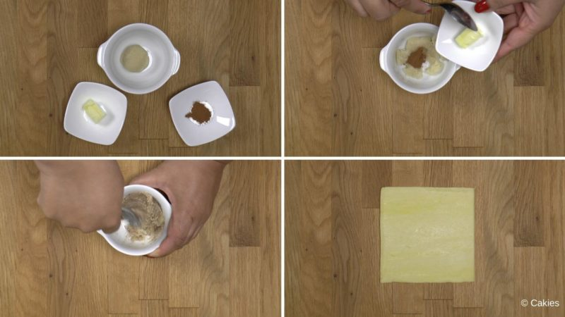 Collage of 4 photos. 1. butter, almond paste, cinnamon in small white dishes on a wooden surface. 2. cinnamon and almond paste in a small cup, butter being added. 3. butter, almond paste and cinnamon being mixed together. 4. square piece of puff pastry on a wooden surface.