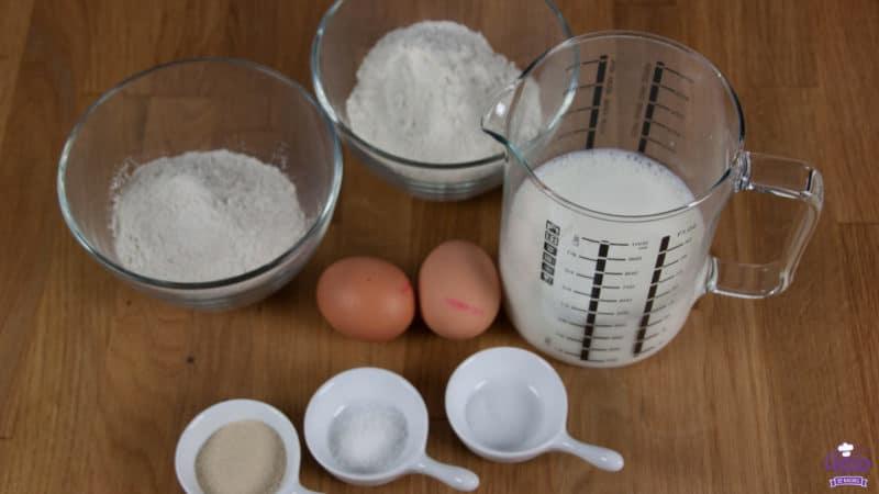 Een overzicht van de benodigde ingrediënten voor poffertjes
