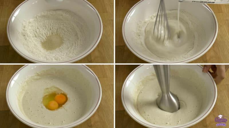 Poffertjes recept stappen; gist toegevoegd aan een kom met bloem, melk wordt toegevoegd aan een kom met bloem terwijl het wordt gemixt, eieren worden toegevoegd aan een beslag, beslag wordt gemixt met een handmixer.