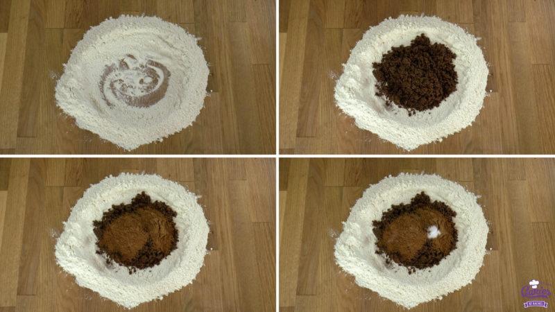 Seculaasbrokken process foto's van het maken van het deeg