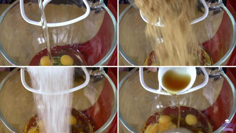 Pompoen cake foto's van het toevoegen van de natte ingrediënten in een kom.